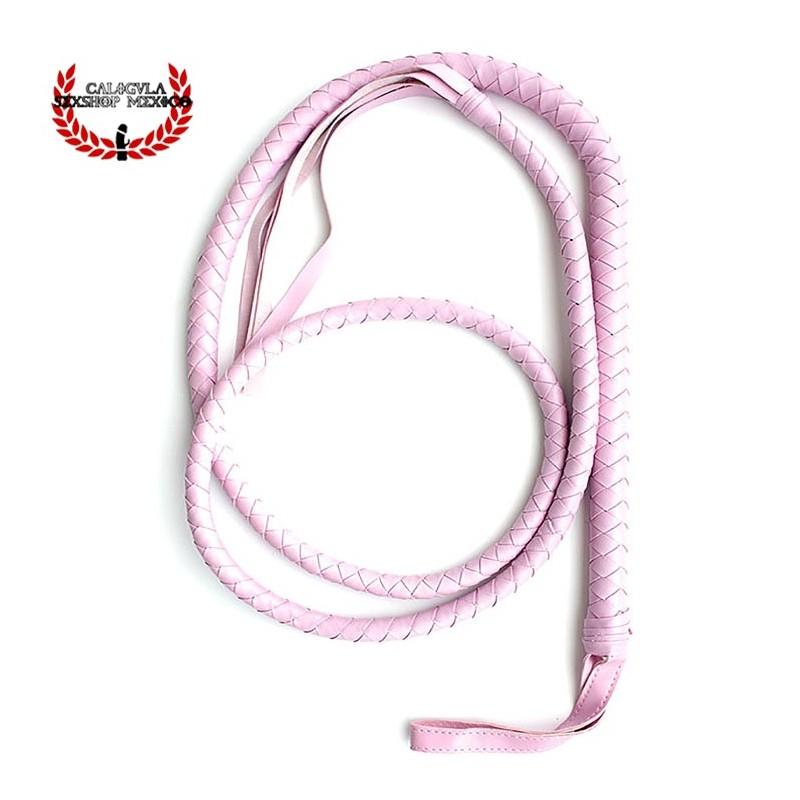 Látigo Largo 2M Piel color rosa Látigo para Juegos BDSM Sado