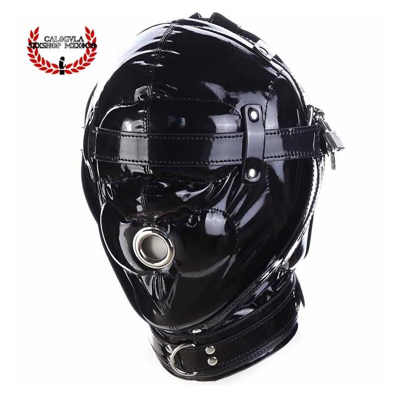 Mascara Esclavo Amo Juegos BDSM Negra Brillante Ojos tapados con candado