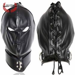 Mascara Negra con Cierre en ojos y boca argollas en cuello Mascara Esclavo Amo Juegos BDSM