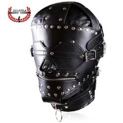 Mascara BDSM cuadrada estoperoles cierre en boca y ojos Mascara Esclavo Amo Juegos BDSM
