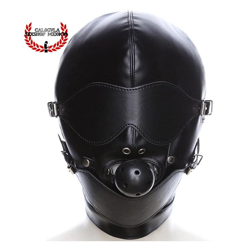Mascara BDSM con Antifaz y mordaza con bola negra Mascara Esclavo Amo Juegos BDSM