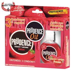 Paquete Prudence de 3 condones con aceite sexual corporal para masaje erótico sabor Fresa de 30Ml