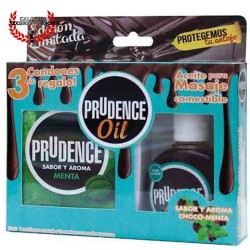 Paquete Prudence de 3 condones con aceite sexual corporal para masaje erótico sabor Chocolate de 30ML