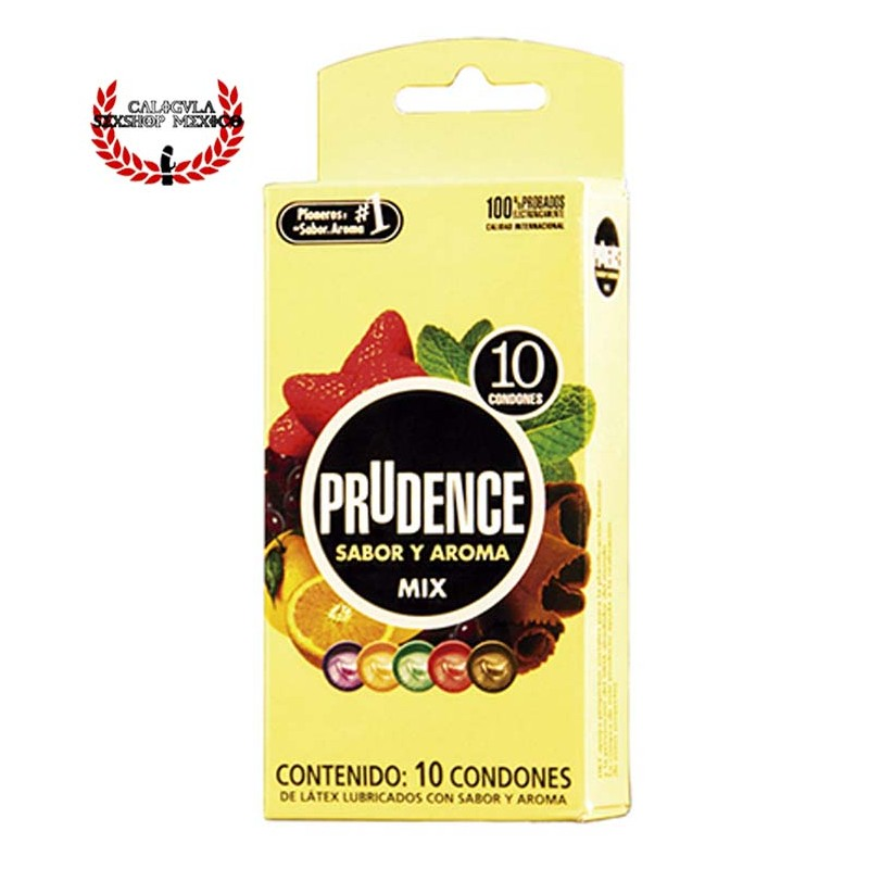 Condón Látex Prudence 10 pzas Varios Sabores condón lubricado con silicón