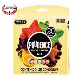 Paquete con 20 Condones Prudence de Latex con lubricante de silicon varios sabores