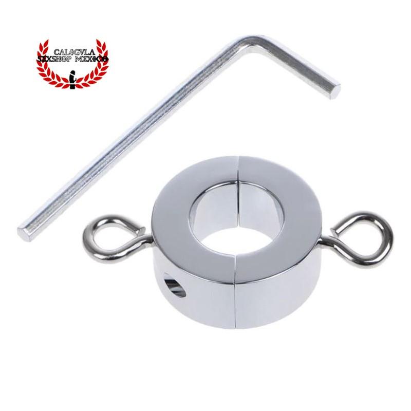 Anillo Metálico 2.5cm para testículos tornillos para Peso extra Cock Ring escroto BDSM Sado