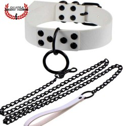 Collar Blanco Con correa para sumisos esclavos Collar Dominación y Juegos BDSM