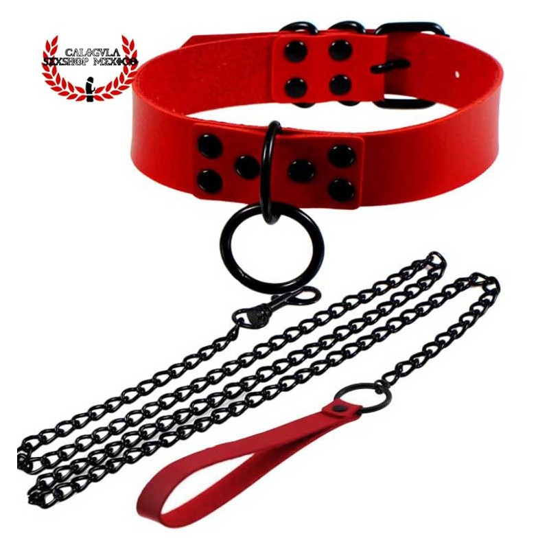 Collar Rojo Con correa para sumisos esclavos Collar Dominación y Juegos BDSM