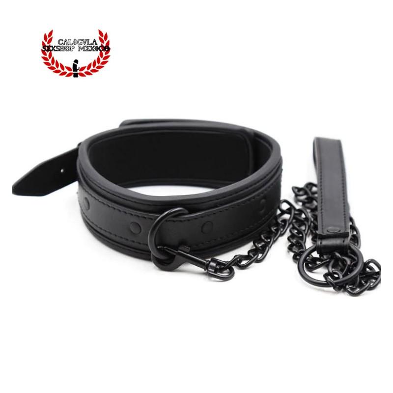 Collar BDSM Esclavo Amo con correa metálica Color Negro Collar Bondage Sado