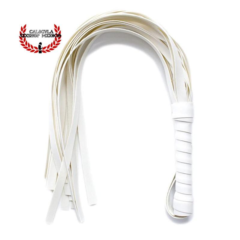 Latigo Corto de tiras Blanco 54cm para Sometimiento Sado Bondage BDSM Juegos sexuales Rol