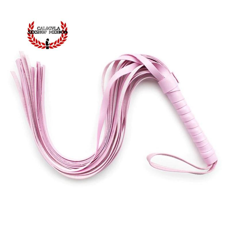 Latigo Corto de tiras Rosa 54cm para Sometimiento Sado Bondage BDSM Juegos sexuales Rol