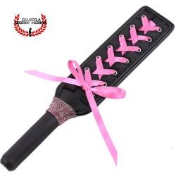 Elegante Pala azotadora 31cm con listón rosa juegos de rol sometimiento Sado Fetish BDSM