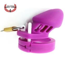 Jaula De Silicón para pene 8cm Morado dispositivo de castidad para hombre jaula BDSM