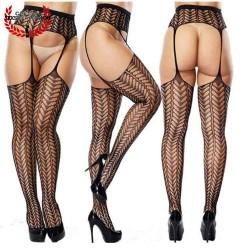 Pantyhose Sexy Medias Negra Liguero MOD05 entrepierna Unitalla Pantimedia Erótica Spandex