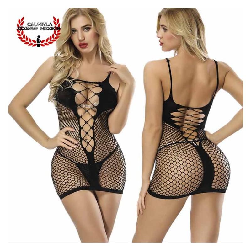 Sexy BabyDoll Tipo Malla Frente abierto resalta tus pechos lencería Sexy Erótica Spandex