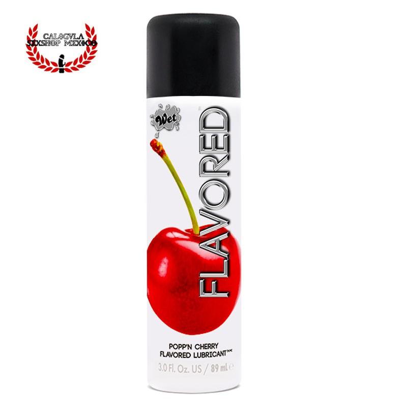 Lubricante WET 89ml Cereza Gel WET Flavored Popp'n Cherry Lubricante Sexo Oral Vagina o Anal