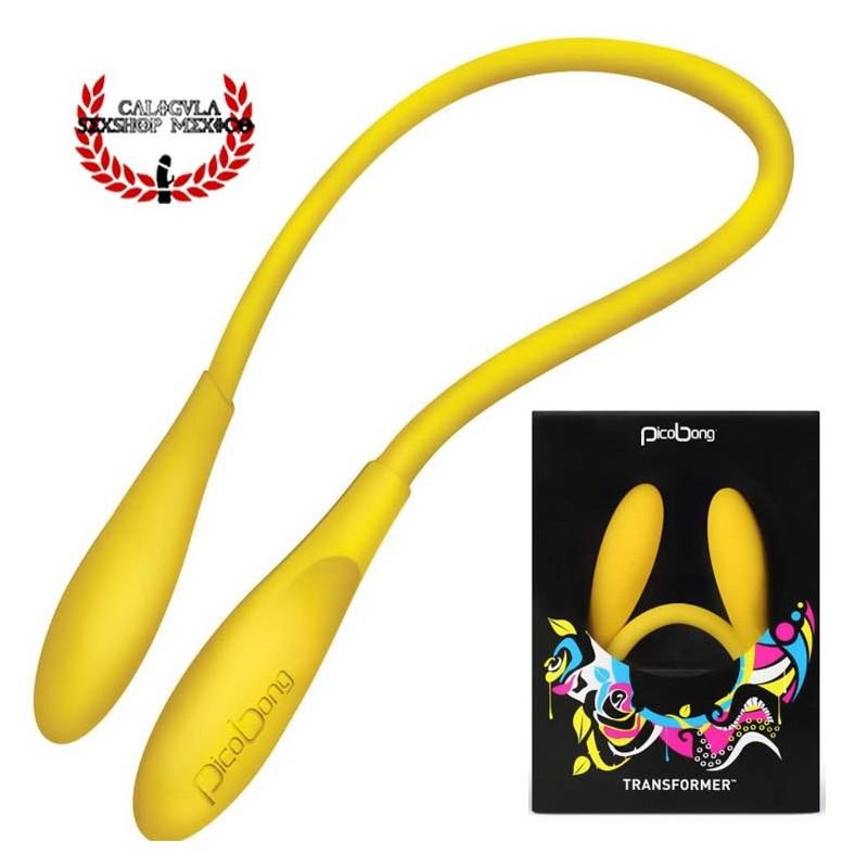 Vibrador Transformer Pico Bong by LELO Color Amarillo Vibrador Flexible Estimulación Sexual
