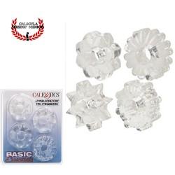 Kit de 4 Anillos Transparente para tu pene Super Stretchy Enhancers CalExotics anillo pene mantener tus erecciones