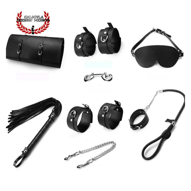 Kit Set Accesorios BDSM con elegante estuche el Kit BDSM Incluye Esposas Latigo Antifaz Collar Juegos Sexuales BDSM