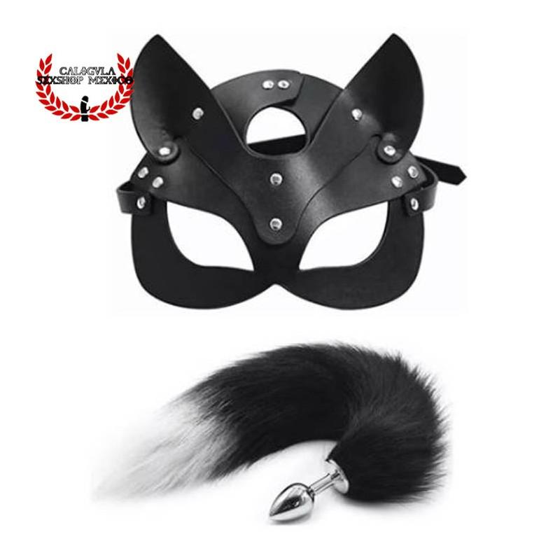 Mascara de gatita y plug anal en forma de cola de zorro con punta negra BDSM juegos sexuales de rol BDSM Fetiche