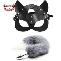 Mascara de gatita y plug anal en forma de cola de zorro Gris BDSM juegos sexuales de rol BDSM