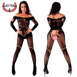 Body Lencería al Hombro Bodystocking Lencería Sexy lencería erótica para dama con abertura entrepierna