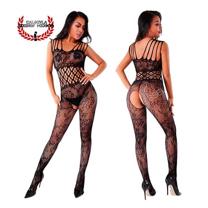 Body Lencería Sexy Tirantes Bodystocking lencería Negra erótica para dama con abertura entrepierna