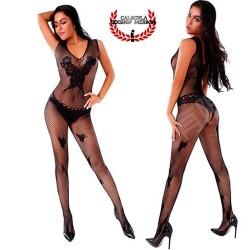 Body cuerpo entero en red Sexy lencería Negra erótica para Dama Body abertura entrepierna