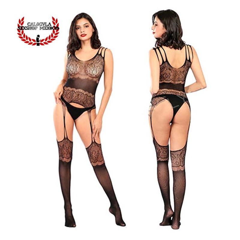 Body Negro Con Medias cuerpo entero Sexy lencería erótica en Red para Dama Body