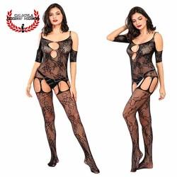 Catsuit Lenceria Erotica para dama con escote Lencería en Red Cuerpo entero Sexy Body Negro
