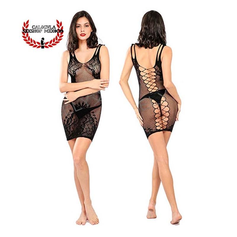 Mini vestido en red Lenceria erotica Sexy lencería para dama vestido erotico abierto en espalda