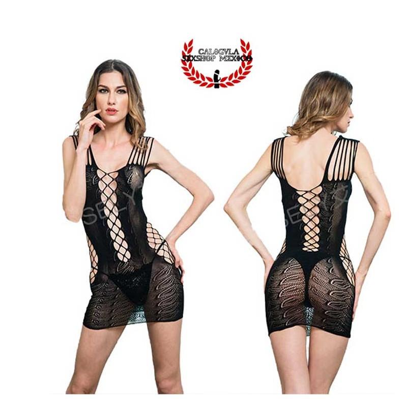 Mini vestido en red MOD4110 Lenceria erotica Sexy lencería para dama vestido erotico abierto en espalda