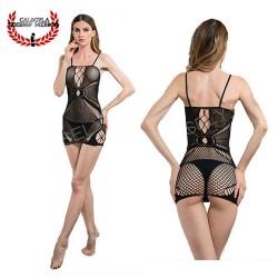 Mini vestido en red MOD4179 Lenceria erotica Sexy lencería para dama vestido erotico abierto en espalda