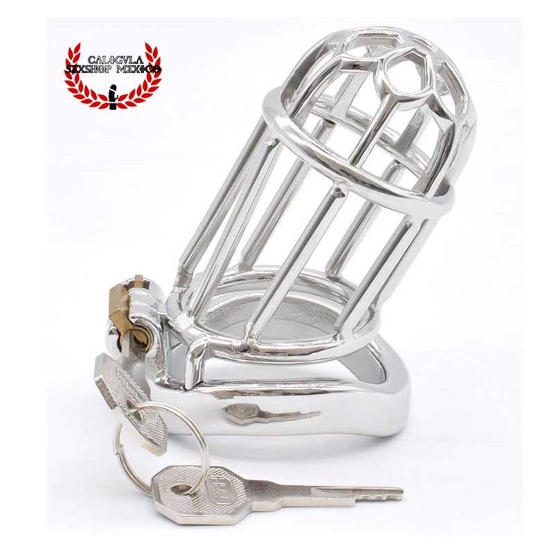Dispositivo de Castidad Jaula para pene de Acero 8cm BDSM Jaula de castidad larga restricción BDSM
