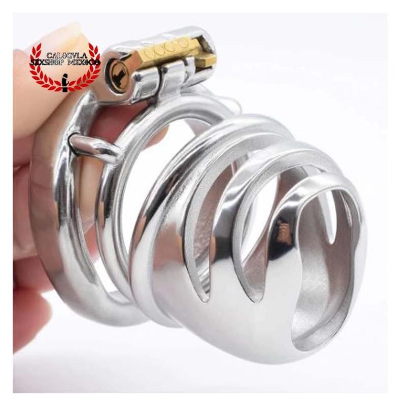 Dispositivo de Castidad Jaula para pene de Acero Cabeza abierta 6cm BDSM Jaula de castidad BDSM