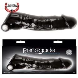 Funda para pene con Vibracion Renegade Manaconda NS Novelties Negra Funda realista para pene más grande y grueso