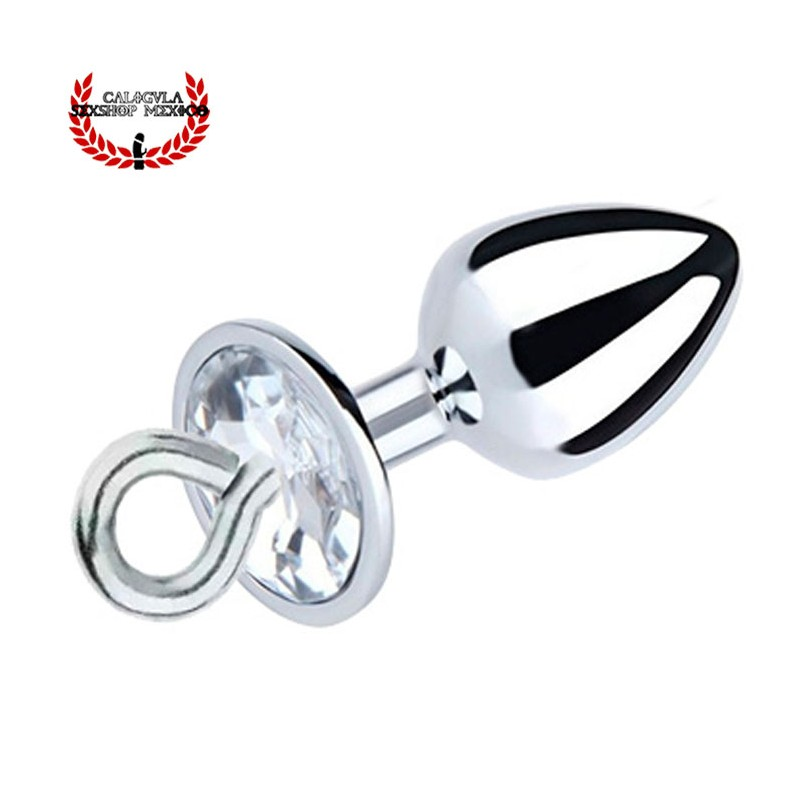 Plug Anal metálico 7cm con argolla y base de diamante Plug Metálico para penetración anal BDSM