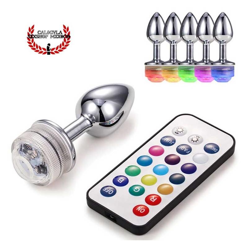 Plug Anal Metálico con divertidas combinaciones de luz led en 13 colores a control remoto