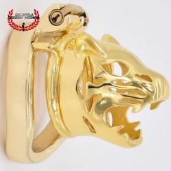 Jaula Castidad 6cm Cabeza de Tigre BDSM Jaula de castidad para pene metálica Color Oro BDSM