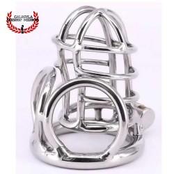 Jaula 7.5cm BDSM para Pene y anillo metálico para testículos Jaula de castidad Hombre Juegos sexuales BDSM