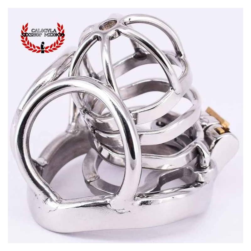 Jaula 6.7cm BDSM para Pene y anillo metálico para testículos Jaula de castidad Hombre Juegos sexuales #BDSM