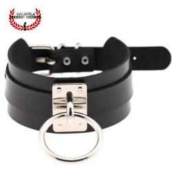Elegante Collar Color Negro de Sumisión con anillo para correa Juegos Sado Gargantilla BDSM
