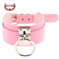 Elegante Collar Color Rosa de Sumisión con anillo para correa Juegos Sado Gargantilla BDSM