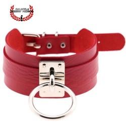 Elegante Collar Color Rojo de Sumisión con anillo para correa Juegos Sado Gargantilla BDSM