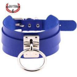 Elegante Collar Color Azul de Sumisión con anillo para correa Juegos Sado Gargantilla BDSM
