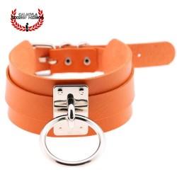 Elegante Collar Color Naranja de Sumisión con anillo para correa Juegos Sado Gargantilla BDSM