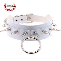 Gargantilla Collar Blanco con Picos Metálicos Collar BDSM Juegos Sexuales Sometimiento Fetish