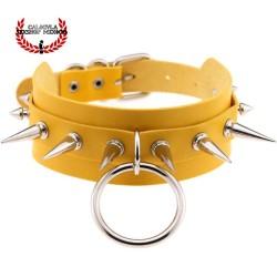 Gargantilla Collar Amarillo con Picos Metálicos Collar BDSM Juegos Sexuales Sometimiento Fetish