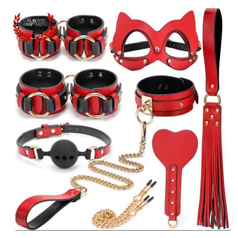 Elegante Kit 9 Piezas Rojo BDSM Juegos sexuales de Rol Bondage Esposas Pezonera Antifaz Gato Sado BSM