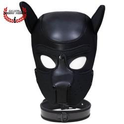 Mascara con collar de Perrito Negro BDSM para Sometimiento Bondage Juegos de Rol BDSM Macara Caucho